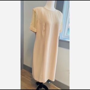 Vintage women's sand coloured dress size 14